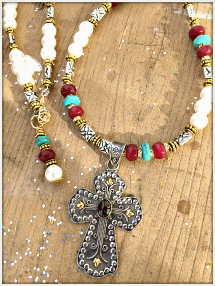 COWGIRL GYPSY NECKLACE Antique Sterling Silver Gold & Ruby Cross Pendant on Pearl Turquoise Ruby Long Necklace