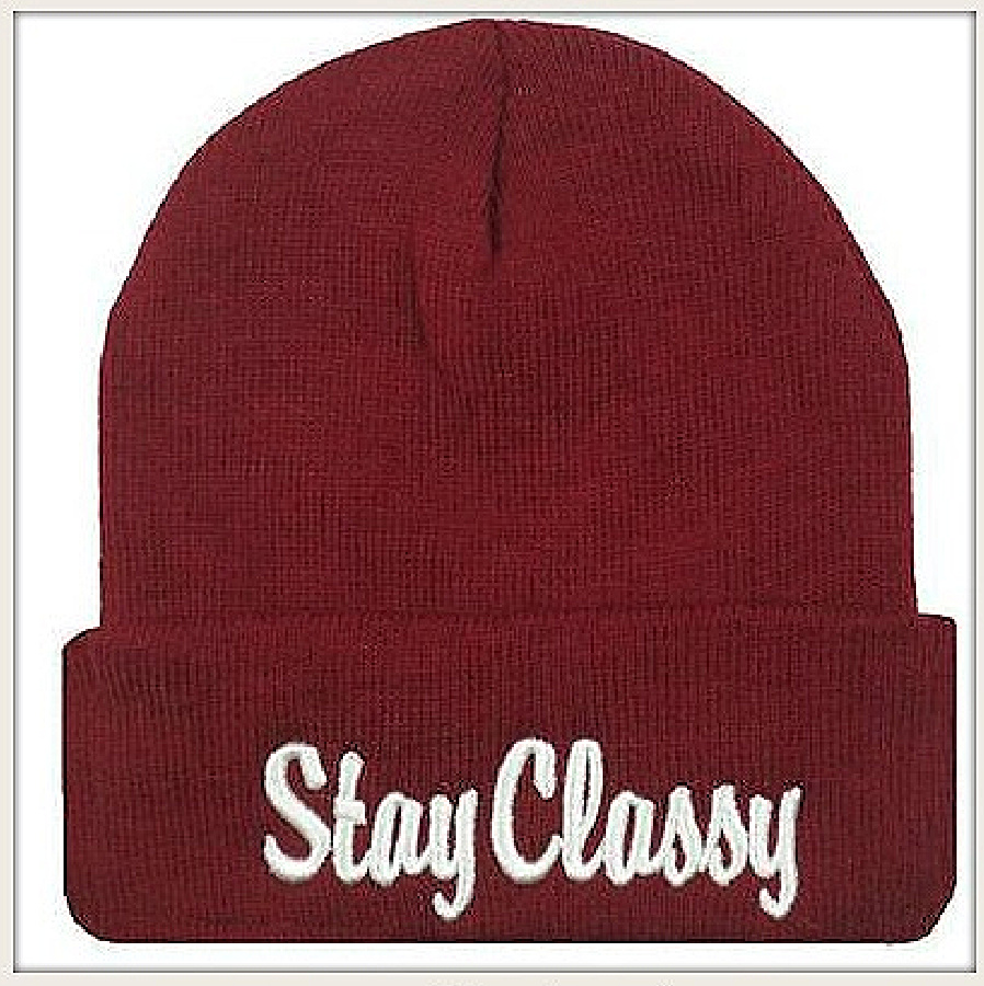"BEANIE CAP  White Embroidered ""Stay Classy"" Unisex Burgundy Hat"