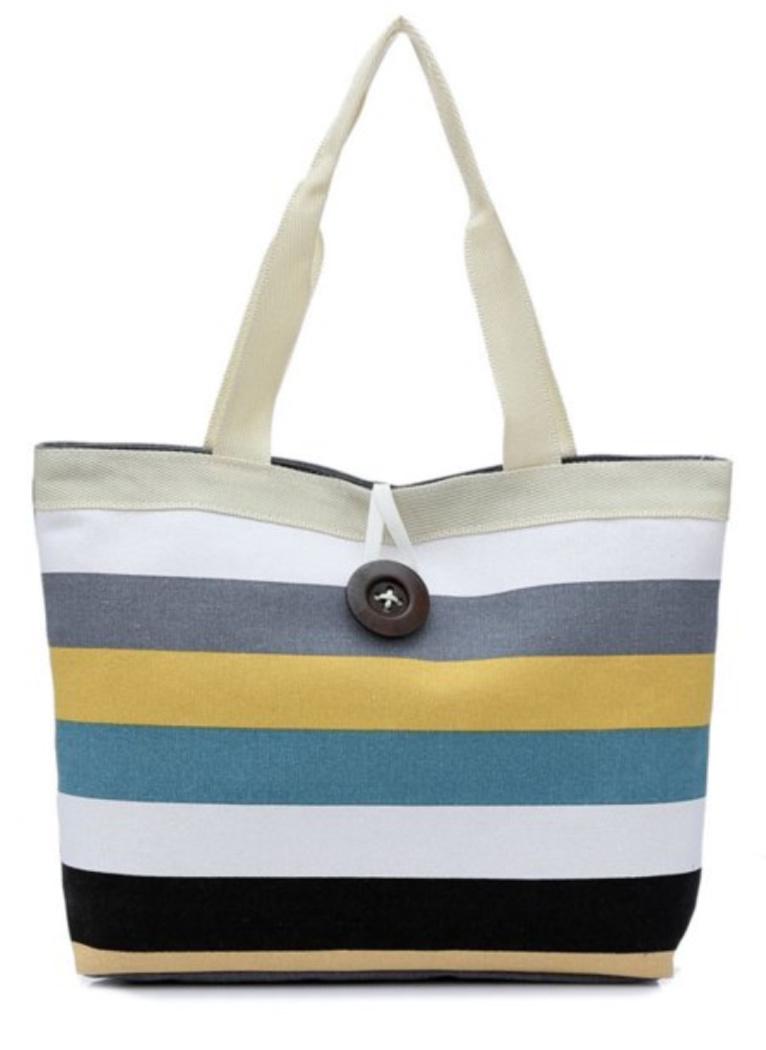 SUMMER BEACH BAG Zip Top Canvas Multi Colored Stripe Summer Beach Bag Handbag Tote - 3 COLORS