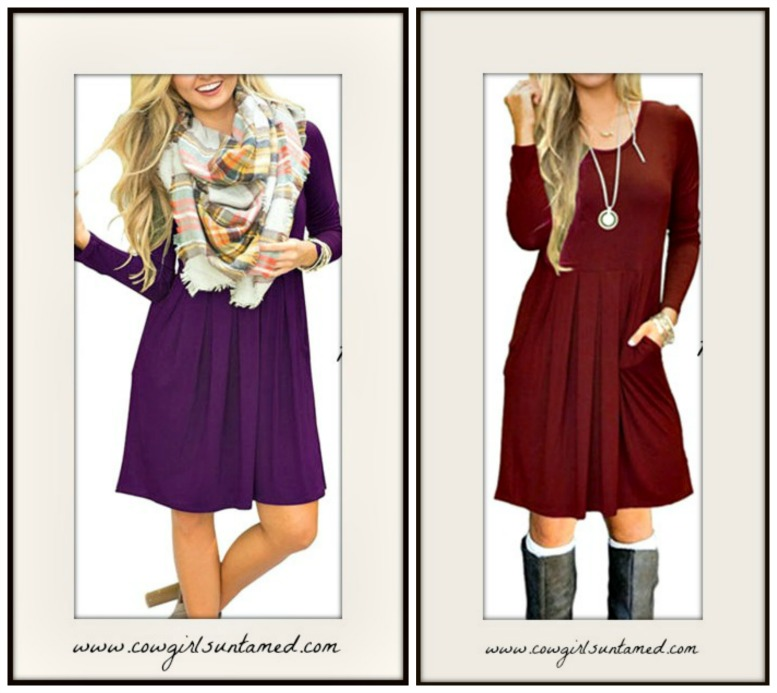 NO PLAIN JANE HERE DRESS Long Sleeve Pleated Front Casual Swing Dress  2 COLORS!