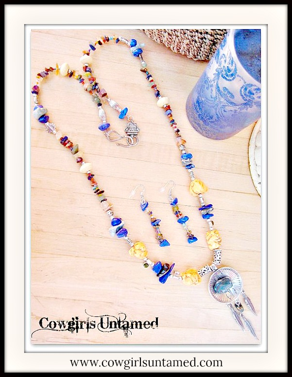 AMERICAN COWGIRL NECKLACE SET Silver Indian Feather Turquoise & Blue Lapis Agate Buffalo Fetish Beaded Necklace Set