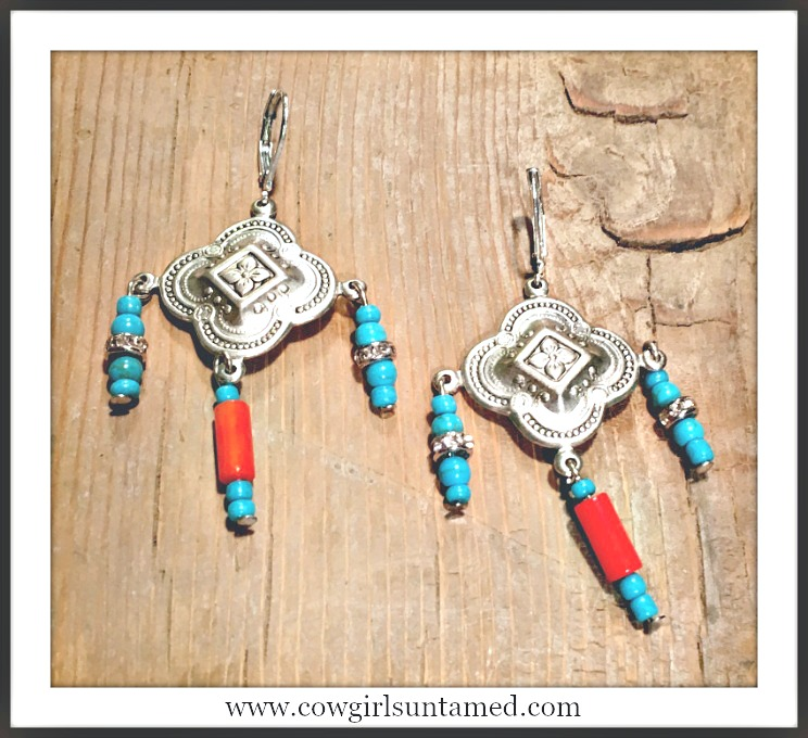 WILDFLOWER EARRINGS San Pablo Etched Silver Cross with Turquoise & Coral Charms Earrings