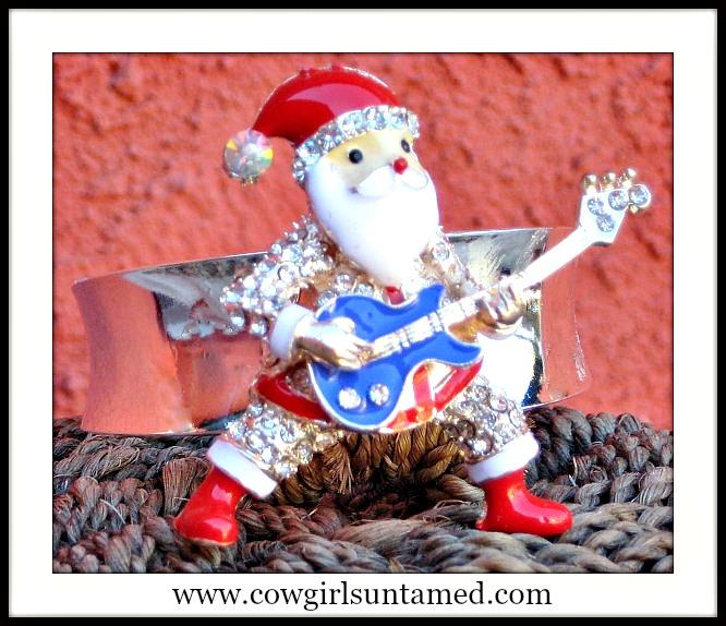 COWGIRL CHRISTMAS CUFF Rockin' Roll Rhinestone Santa Silver Western Cuff