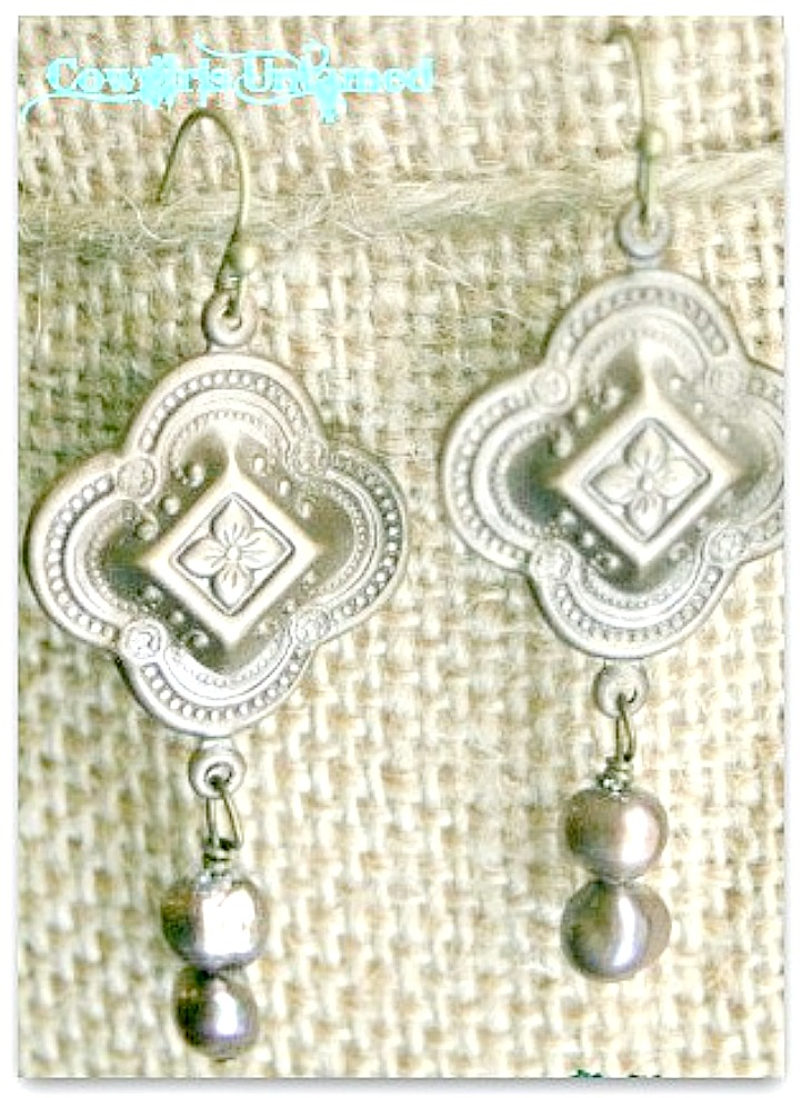 SANTA CRUZ EARRINGS Antique Bronze Ornate Cross with Pearl Charm Earrings