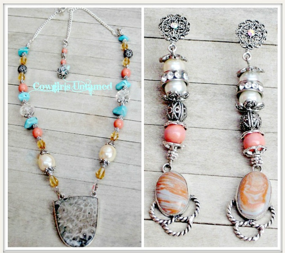 COWGIRL GYPSY NECKLACE SET Sterling Silver Ocean Grey Jasper Pendant Aqua Turquoise Pearl Orange Coral Chunky Beaded Necklace Set
