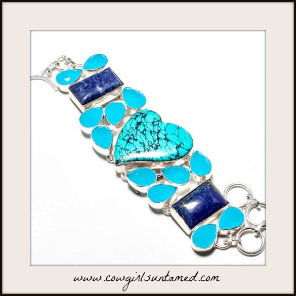 MAGNOLIAS BLOOM BRACELET Santa Rosa Turquoise Heart & Gemstone 925SS Bracelet