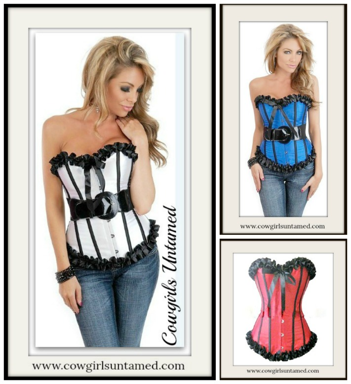 CORSET - Satin Lace Up Striped Ruffle Steel Boned Corset
