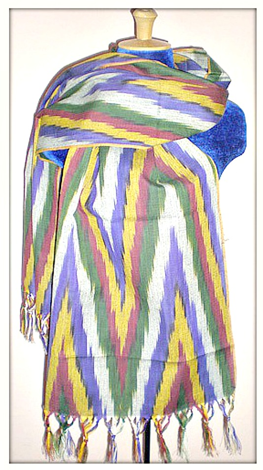 BOHO SCARF Purple Multi Color Fringe Ikat Scarf Shawl