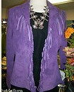 COWGIRL STYLE JACKET Lined Fringe GENUINE Purple Suede Leather Designer Scully Western Jacket