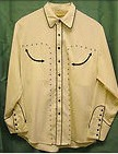 COWBOY STYLE SHIRT Ivory and Black Embroidered Western Long Sleeve Western Shirt