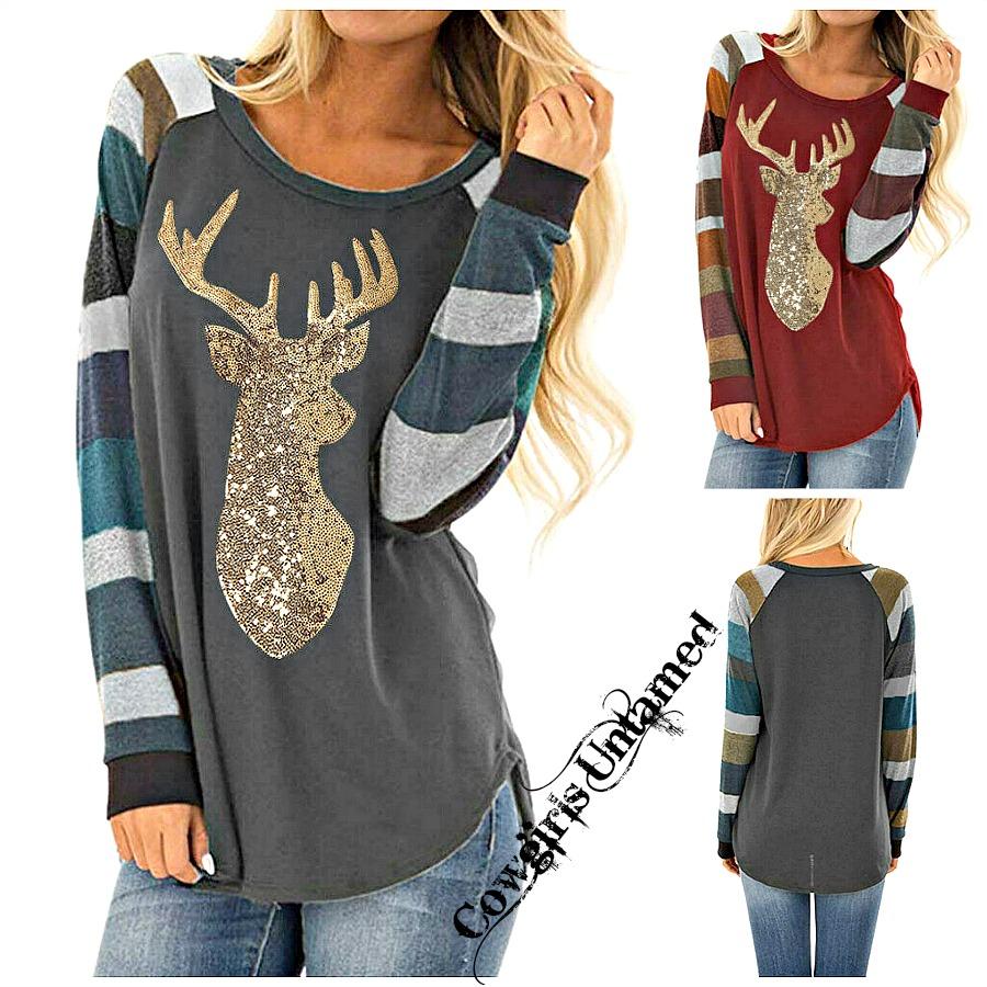HOLIDAY DEER TOP Sequin Deer Multi Color Stripe Long Sleeve Top 2 COLORS!