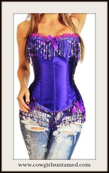 CORSET - Purple Satin Sequin Fringe Lace Up Western Corset Bustier Top
