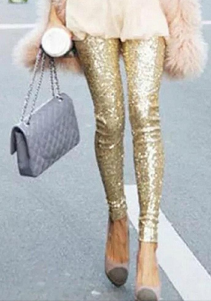 TOUCH OF GLAM LEGGINGS Gold Sequin Lined Leggings S-L
