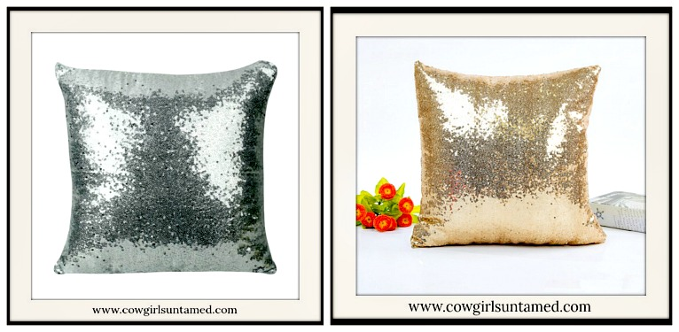 COWGIRL CHRISTMAS DECOR Sequin Pillow Case