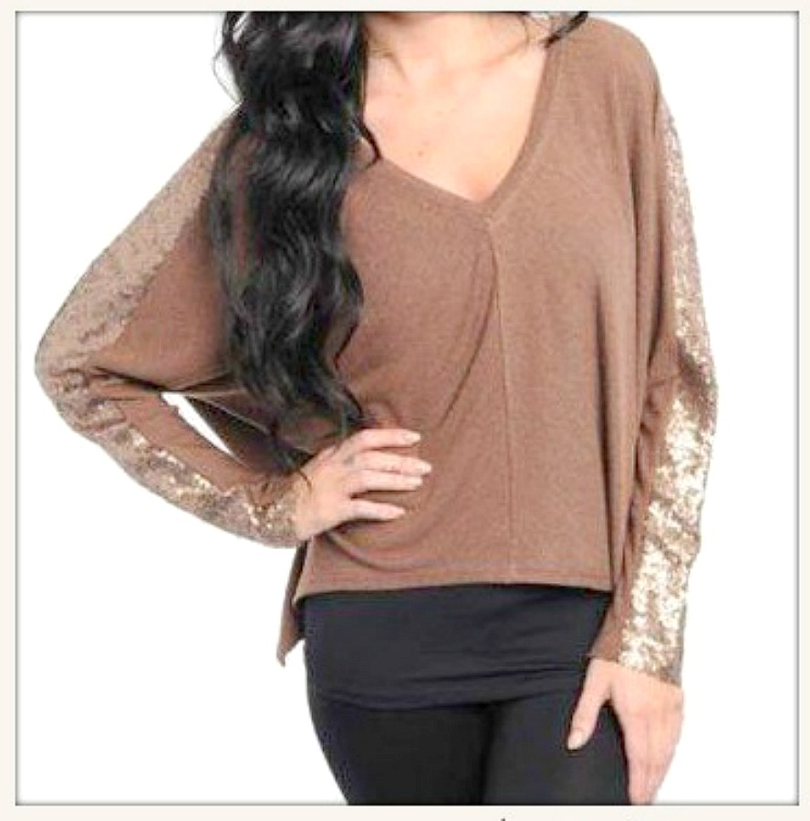 TOUCH OF GLAM SWEATER Sequin Stripe V Neck Long Sleeve Sweater