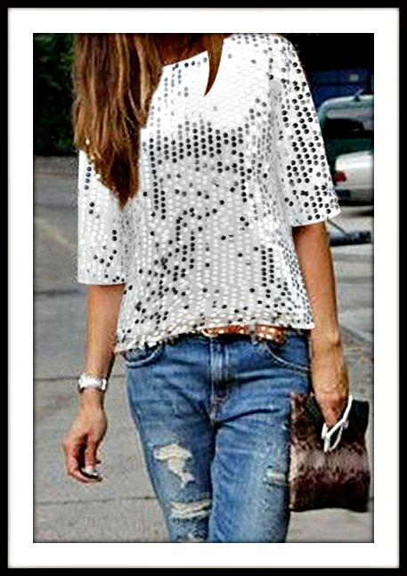 Short Sleeve Sequin Loose Top Holiday Top Top Blouse