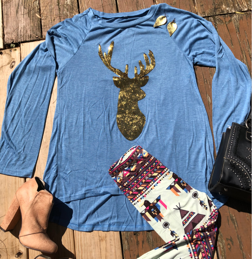 THE JESSIE TOP Gold Sequin Deer Long Sleeve High Low Loose Fit Womens Blue Tunic Top