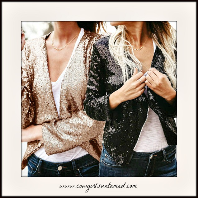 COWGIRL GLAM JACKET Sequin Long Sleeve Open Front Jacket