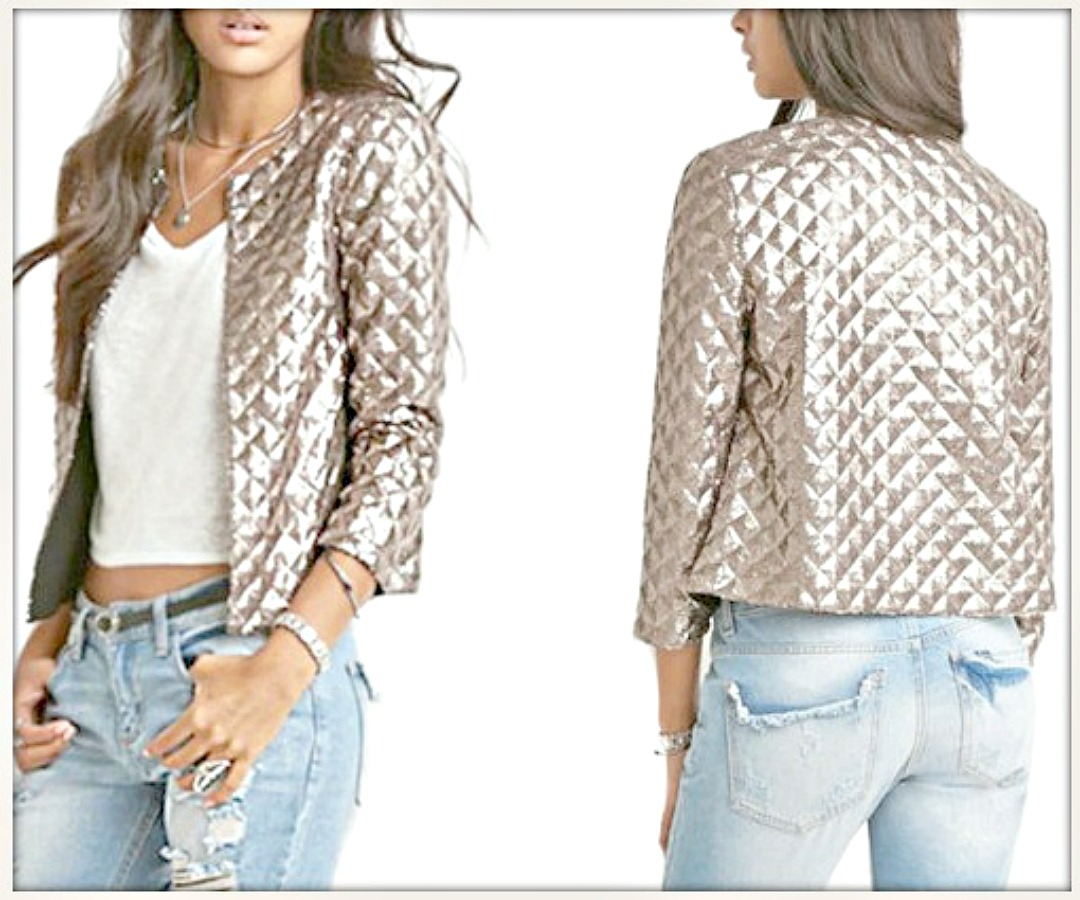 TOUCH OF GLAM JACKET Champagne Diamond Lame Long Sleeve Open Jacket LAST ONE LARGE