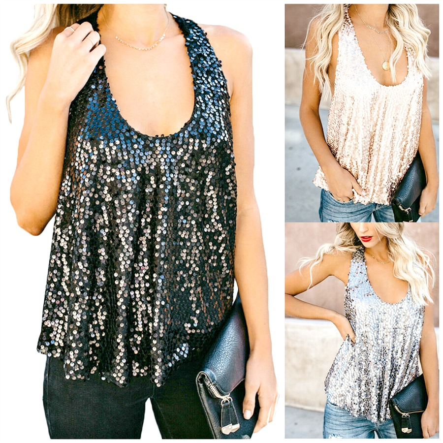 GOING GLAM TOP Racerback Loose Fit Sequin Sleeveless Top - 3 COLORS - S-2X