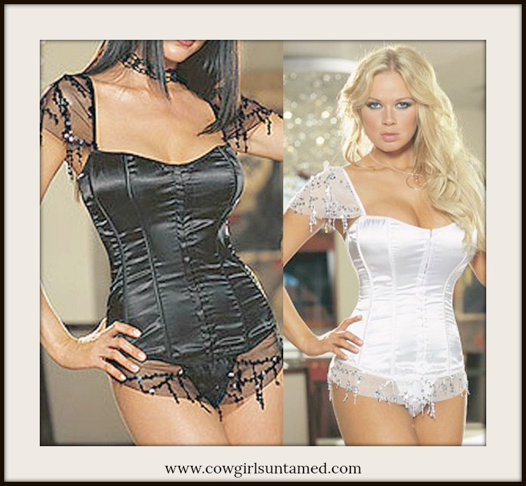 CORSET - Lace and Sequin Sleeves and Trim on Satin Lace Up Back Corset Top