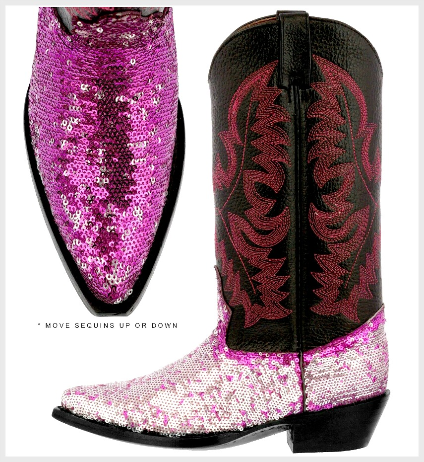black and pink cowgirl boots