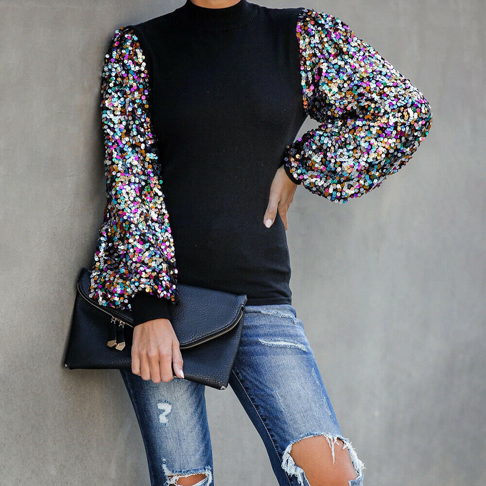 SPARKLY SOIREE TOP Multi Color Sequin Black Lantern Sleeve Party Top