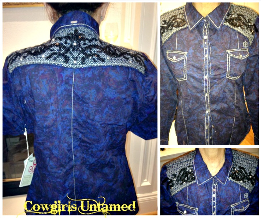 RHINESTONE COWGIRL ROAR TOP Long Sleeve Blue with Embroidered Sequin Down Designer Western Shirt