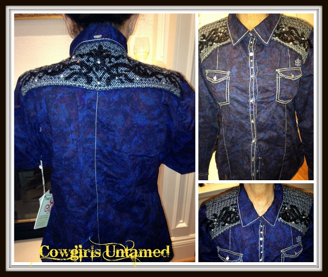 COWGIRL STYLE TOP Long Sleeve Blue with Embroidered Sequin Down Designer Western Shirt