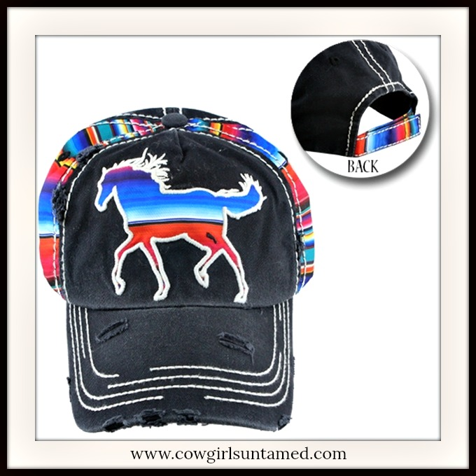 COWGIRL STYLE CAP Serape Horse on Black Distressed Cap Hat