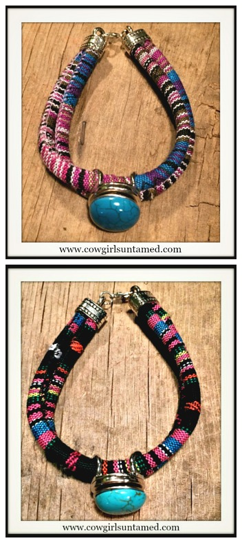 SOUTHWESTERN COWGIRL BRACELET Multi Color Serape Stripe Double Strap Silver Snap On Bracelet