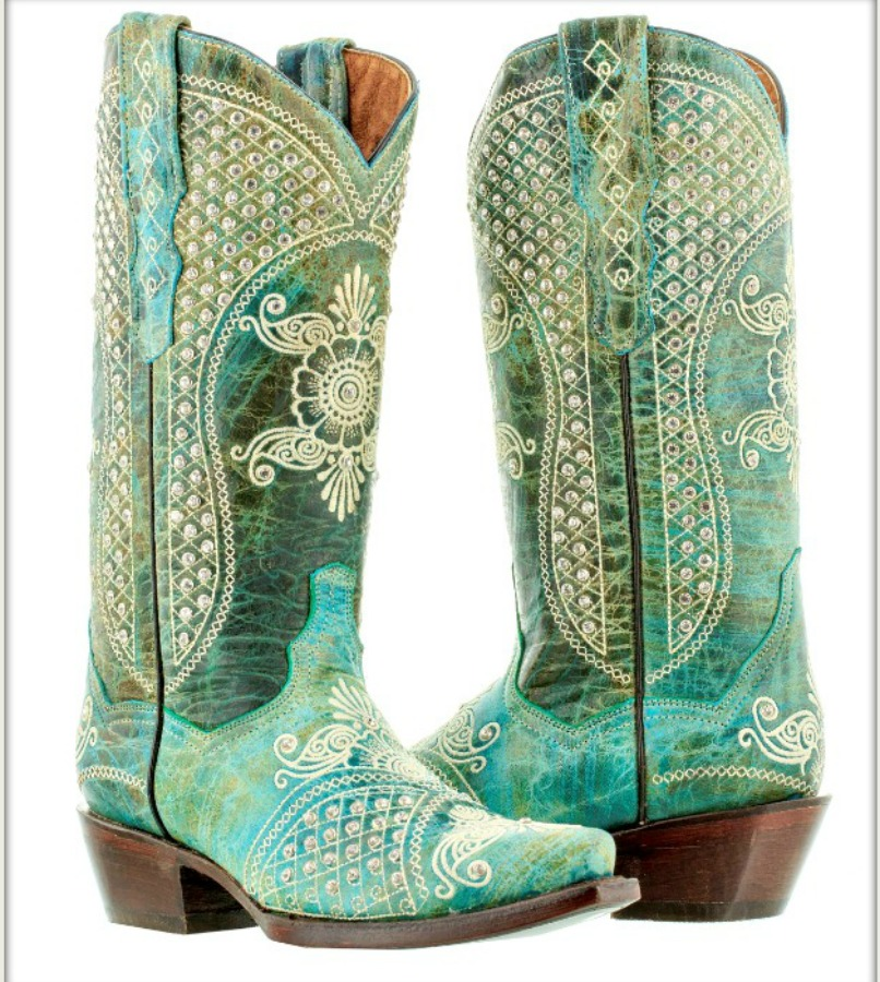 WILDFLOWER BOOTS Rhinestone Studded Beige Embroidery Distressed Turquoise Leather Cowgirl Boots Sizes 5-11