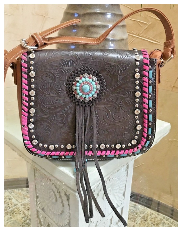 BOHEMIAN COWGIRL HANDBAG Rhinestone Turquoise Concho Tassel Crossbody Bag