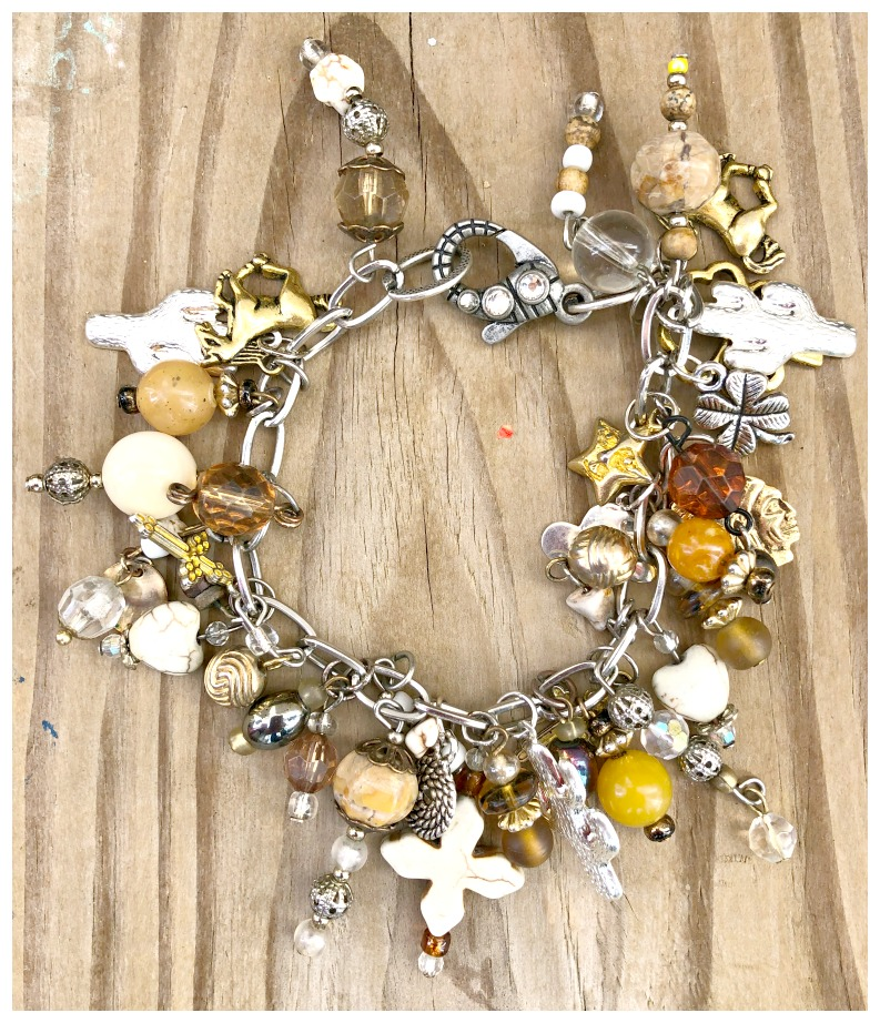 COWGIRL STYLE BRACELET Brown Silver & Gold Horse Cactus Cross Handmade Western Charm Bracelet