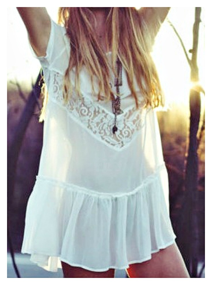 WILDFLOWER COVER UP Sheer White Lace and Ruffle Boho Dress Cover Up