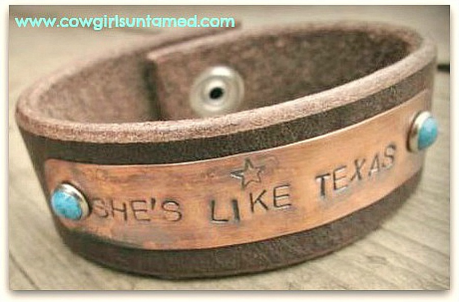 "COUNTRY COWGIRL CUFF ""She's Like Texas"" Turquoise Studded Star Brown Leather Bracelet"