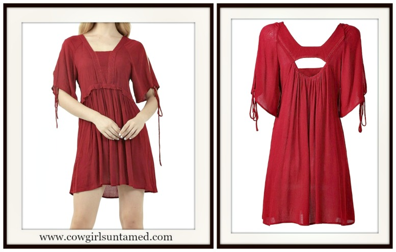 COWGIRL STYLE DRESS Red Open Back Short Sleeve Mini Dress