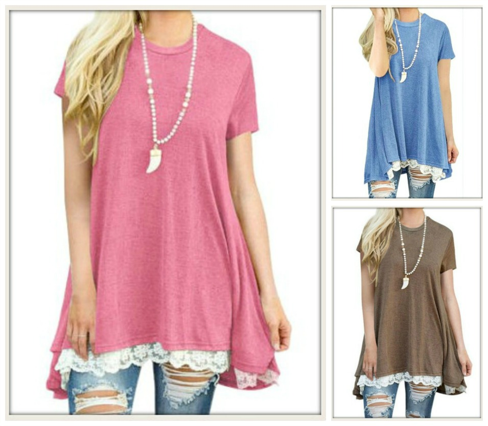 PRETTY in LACE TOP Lace Hemline Short Sleeve Tunic Top  3 COLORS!!