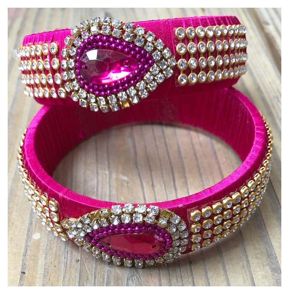 BOHO CHIC BRACELET Silk Thread Bollywood Hot Pink Paisley Rhinestone Bangle