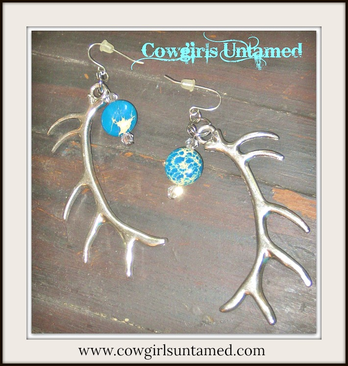 COUNTRY COWGIRL EARRINGS Long Silver Antlers Gemstone Crystal Charm Earrings