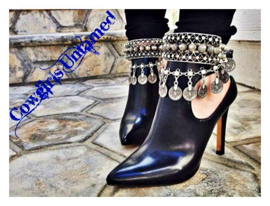 GYPSY COIN ANKLET SET Antique Silver Cross and Coin Charm Anklet Boot Jewelry / Bracelet Set