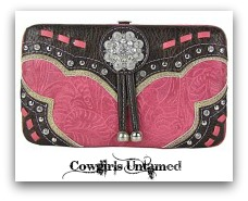 COWGIRL STYLE WALLET Crystal Silver Concho with Tassels on Rhinestone Studded Brown & Pink Embossed Leather Wallet