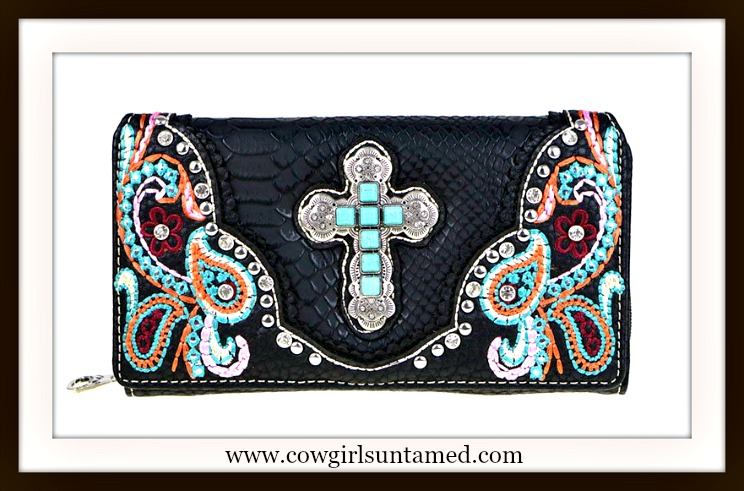 COWGIRL STYLE WALLET Turquoise & Silver Cross on Multi-Color Embroidered Paisley Black Wallet