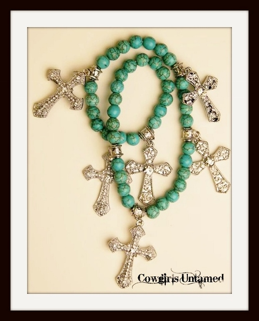 COWGIRL GYPSY BRACELET  Rhinestone Cross Charm Turquoise Beaded Stretch Wrap Bracelet