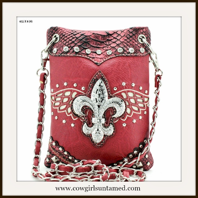 COWGIRL GLAM BAG Silver Crystal Fleur de Lis Red Metallic Messenger Bag