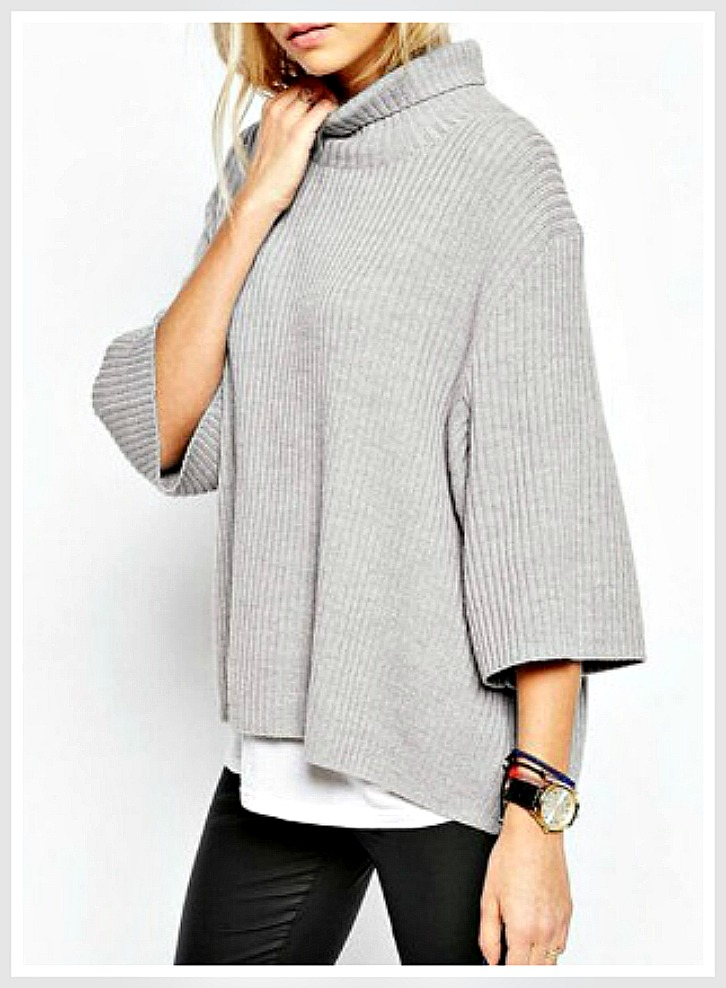 BOHEMIAN COWGIRL SWEATER 3/4 Sleeve Turtleneck Style Silver Grey Oversized Sweater