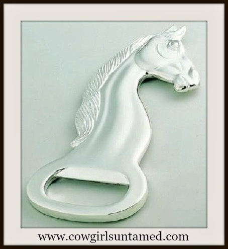 WESTERN COWGIRL HOME Large Gorgeous Silver Horse Head Bottle Opener