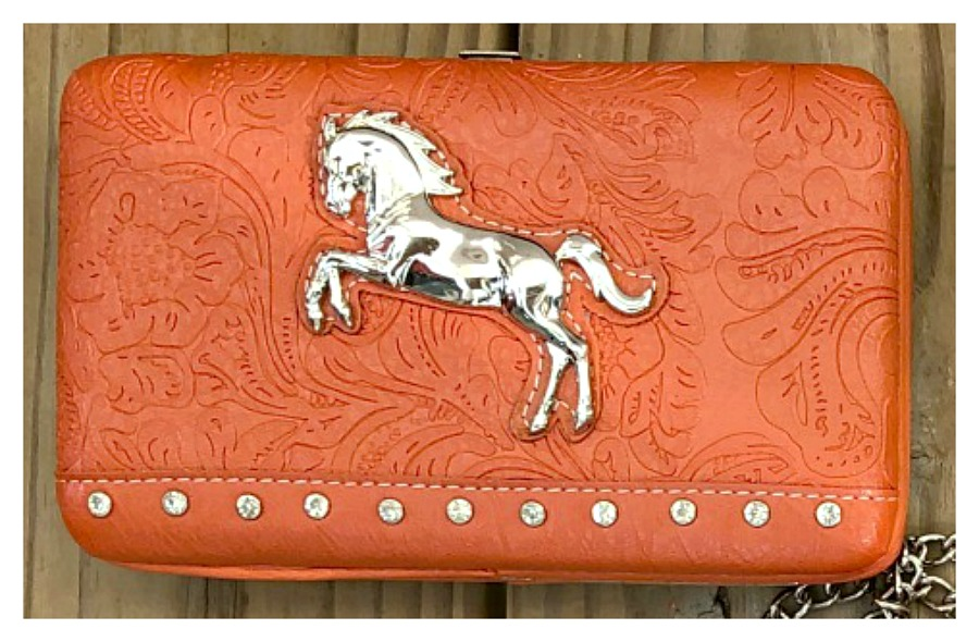 WESTERN COWGIRL WALLET Rhinestone Studded Silver Horse Orange Leaf Embossed Snap Top Clutch Wallet