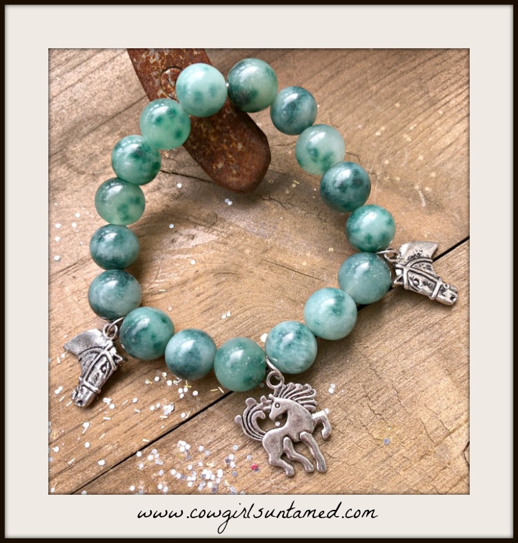 HORSE LOVIN' COWGIRL BRACELET Silver Horse Charms on Green Gemstone Stretch Bracelet