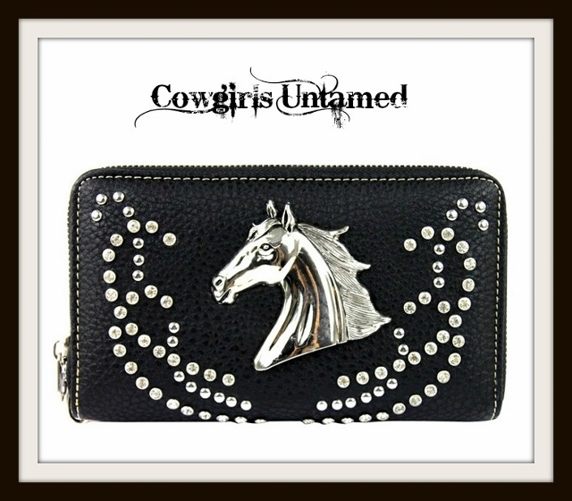 COWGIRL STYLE WALLET Silver Horse Head on Rhinestone Studded Black Leather Wallet Wristlet